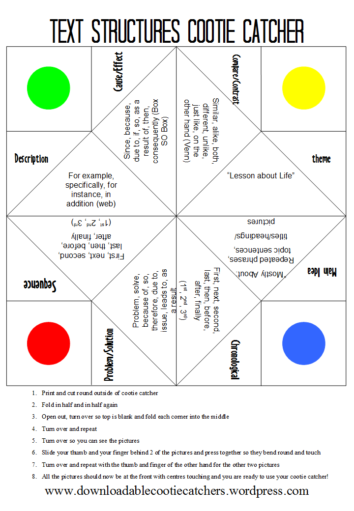 Stuff Students Say and Other Classroom Treasures: Cootie Catchers ...