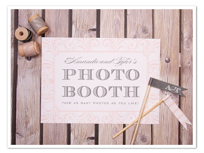 flourished printable diy wedding photo booth sign design