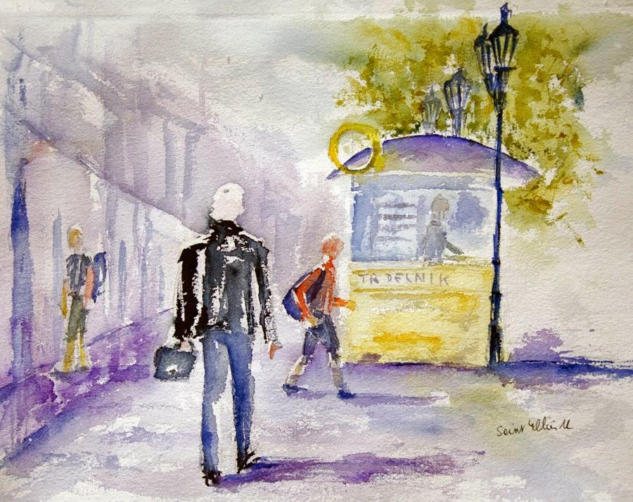 watercolor Praha