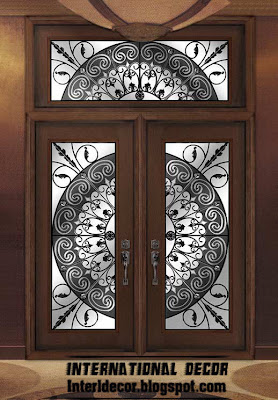 American wooden doors with stained glass designs for International decor gates