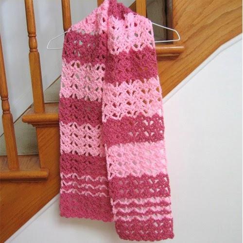Raspberry Swirl Crochet Scarf