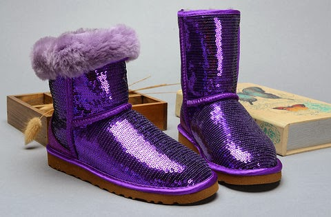 Purple Sequin Glitter Ugg Sparkle Shoes Skinny Snow Boots