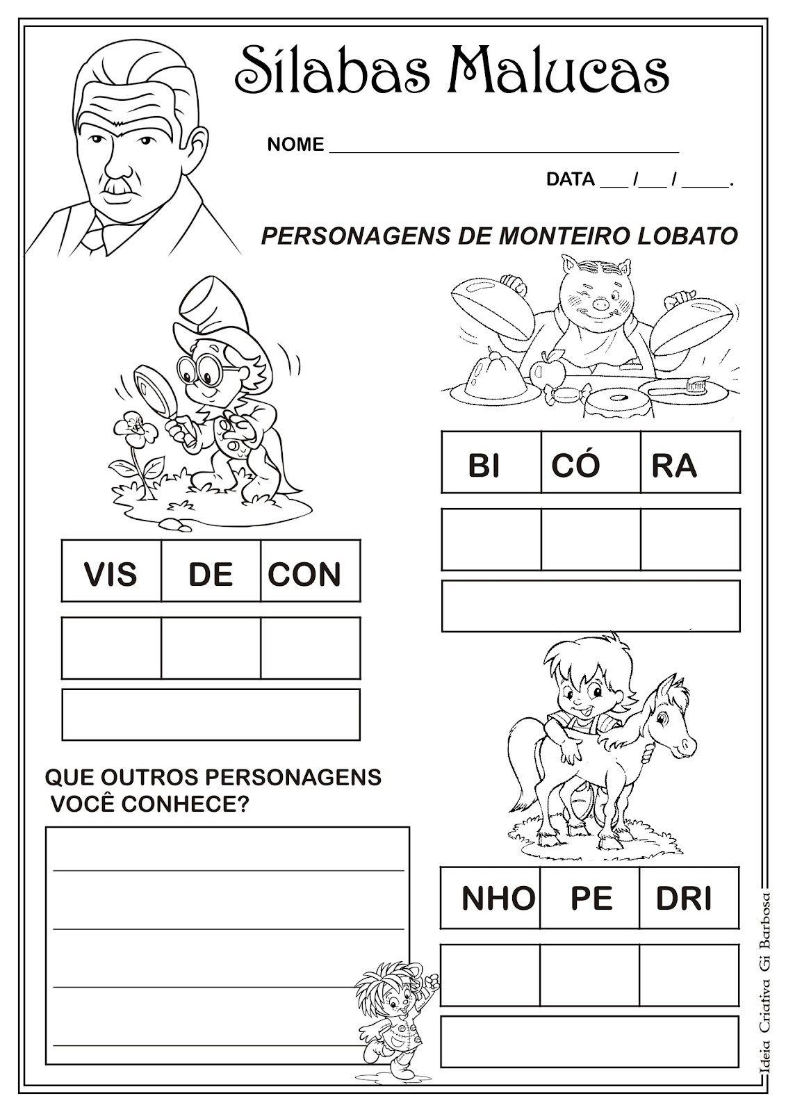 Atividade Sílabas Dia do Livro Infantil / Sítio do Pica Pau Amarelo