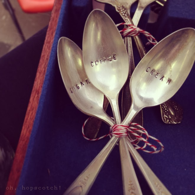 serving spoon set by Sugar Camp, a homegoods and accessorie seller. Merchandising tips & tricks for a successful craft fair. via Oh, Hopscotch!