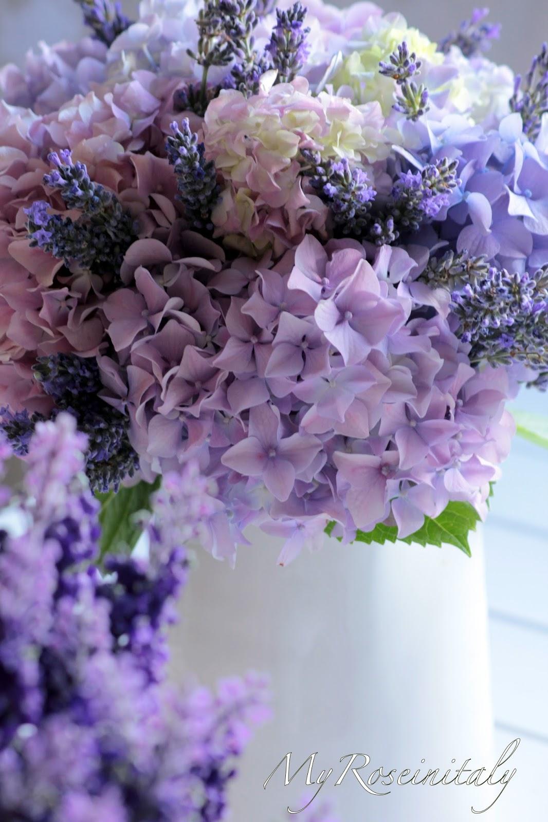 My roseinitaly un bouquet di ortensie e lavanda for Fiori di lavanda