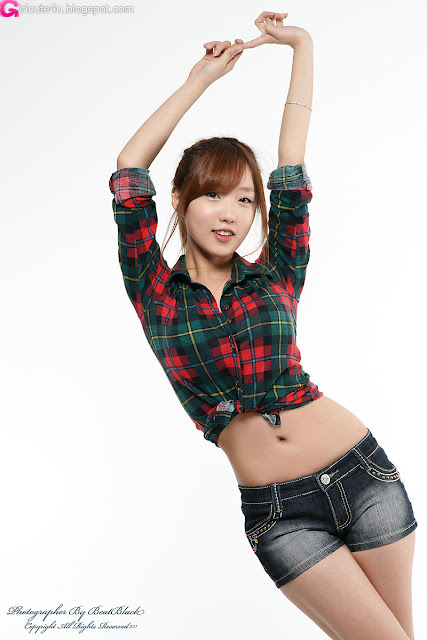 So-Yeon-Green-Squared-Blouse-With-Shorts-06-very cute asian girl-girlcute4u.blogspot.com