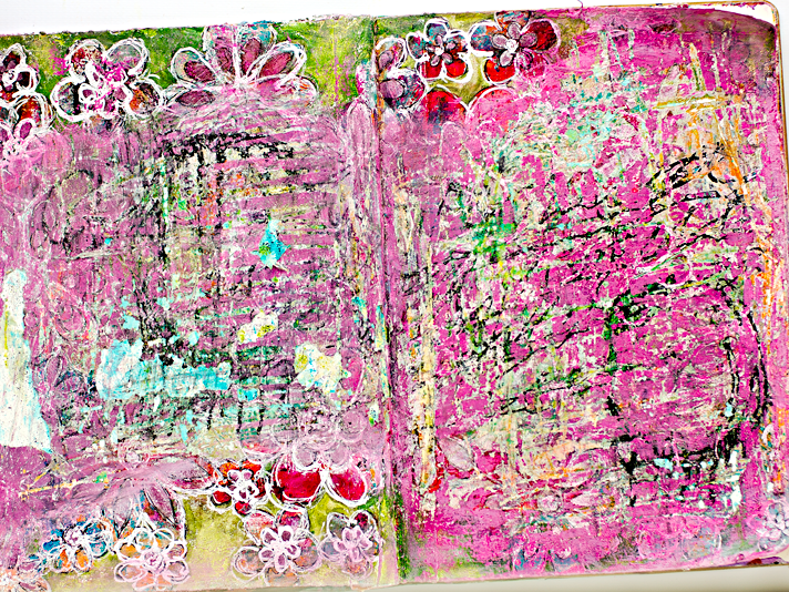 Put On Love, Colossians 3:12-14 | step-by-step workflow and process for a mixed media art worship art journal page using the Documented Life Project prompts for week 6