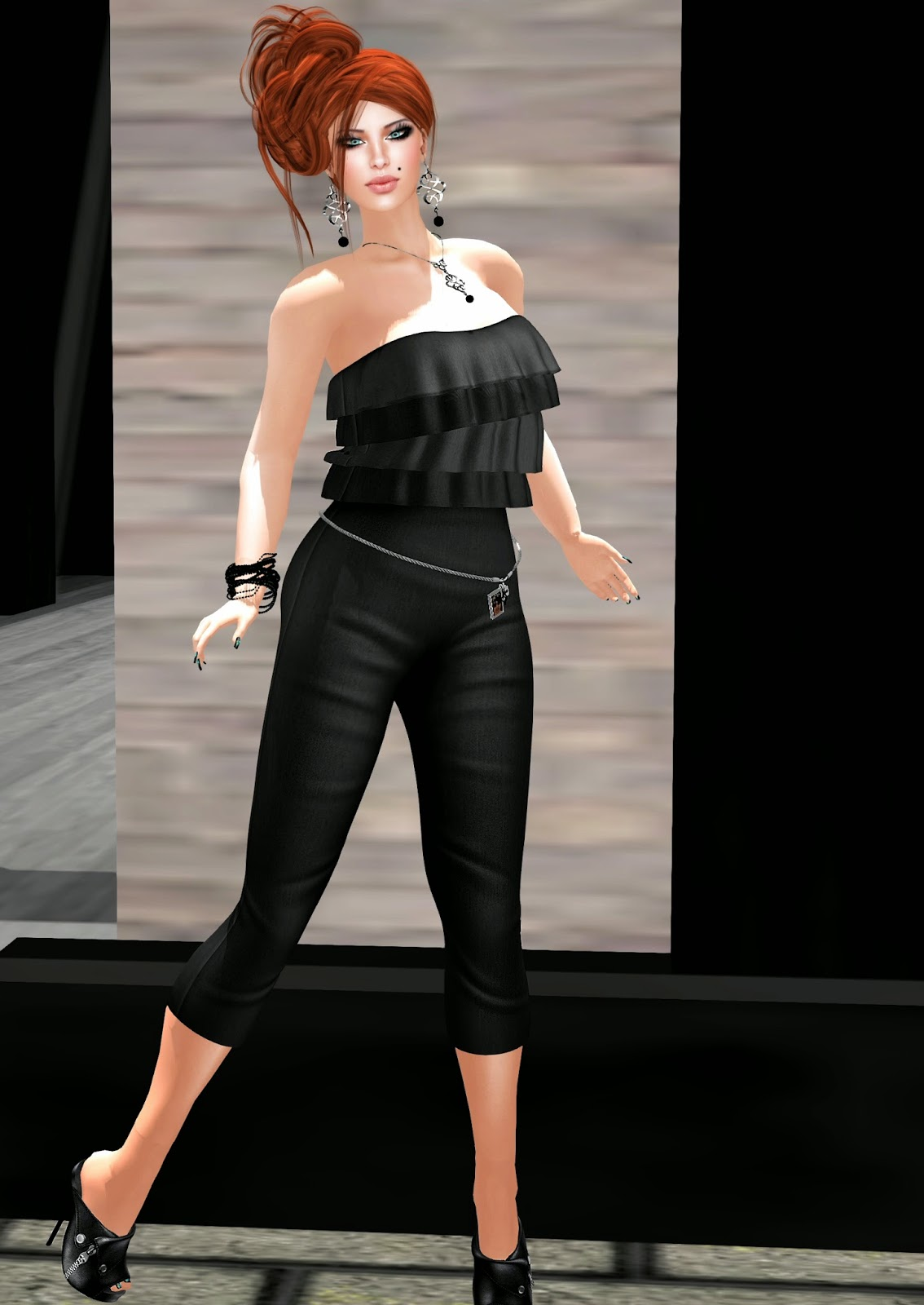 m&m style ruffle jumpsuit, vanity hair flirt