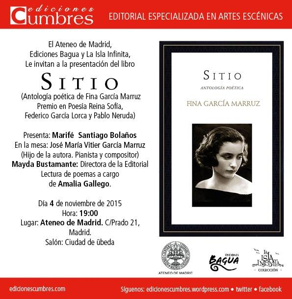Ediciones Cumbres / Bagua presentan SITIO, Antología poética de Fina García Marruz