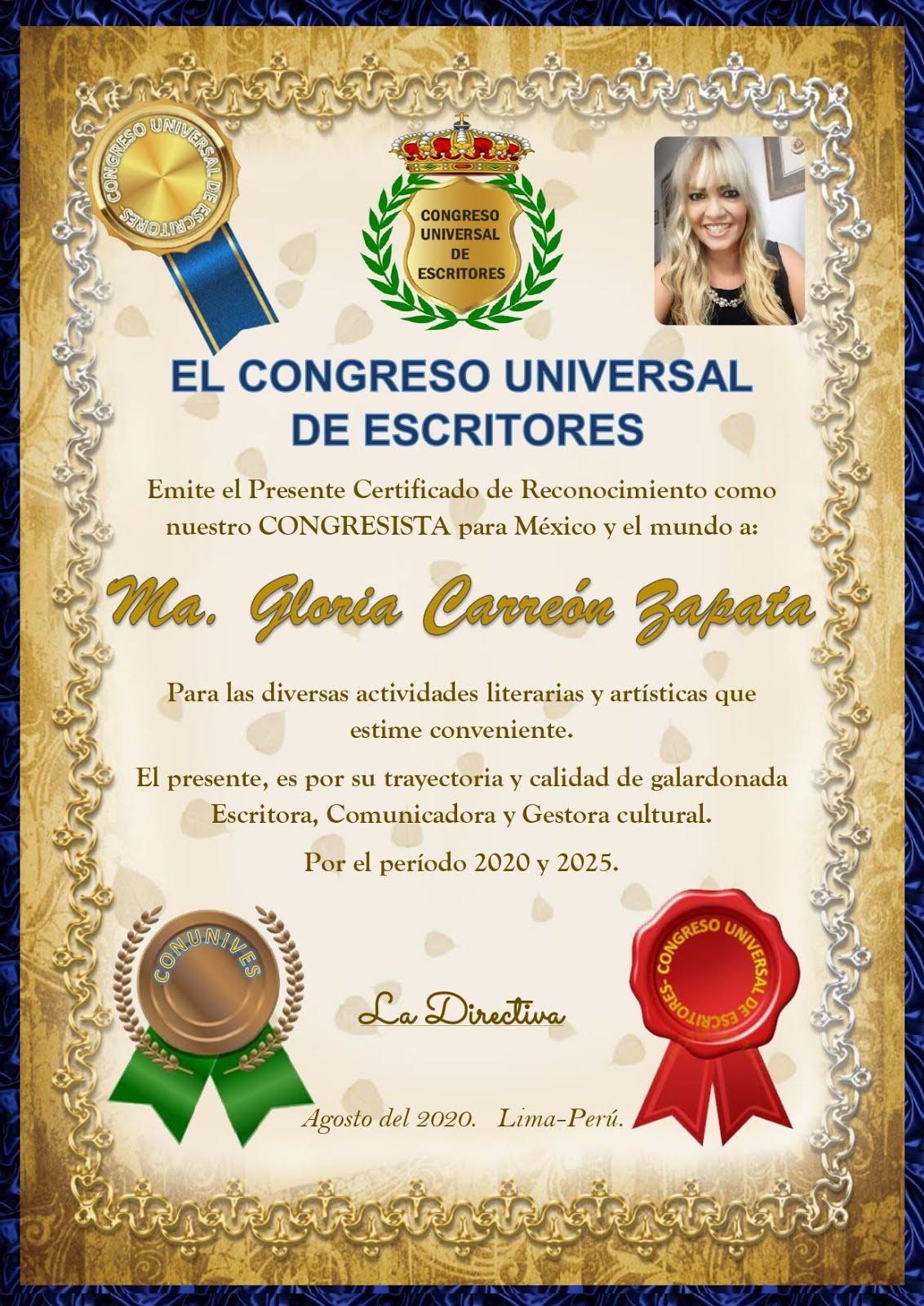 Congresista para México y el Mundo.