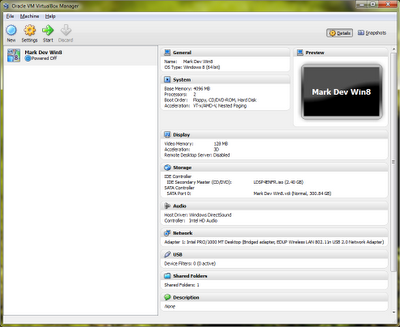 VirtualBox with Windows 8: VirtualBox main window