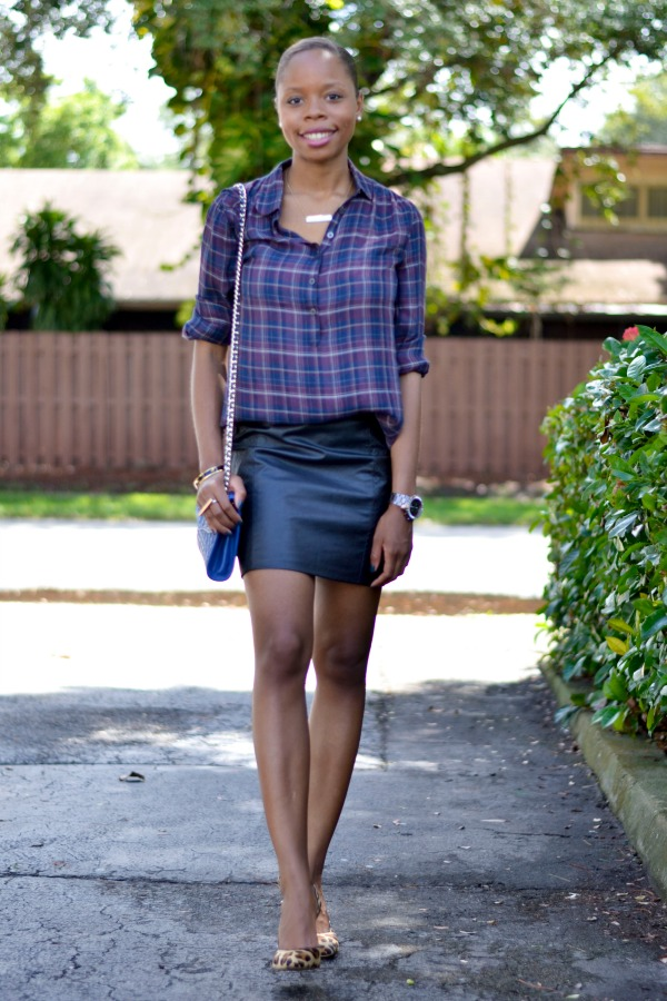 Plaid Shirt + Leather Skirt | Fall Outfit Ideas