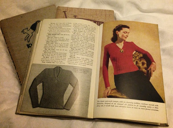Smart red jumper, 1940s, Odhams