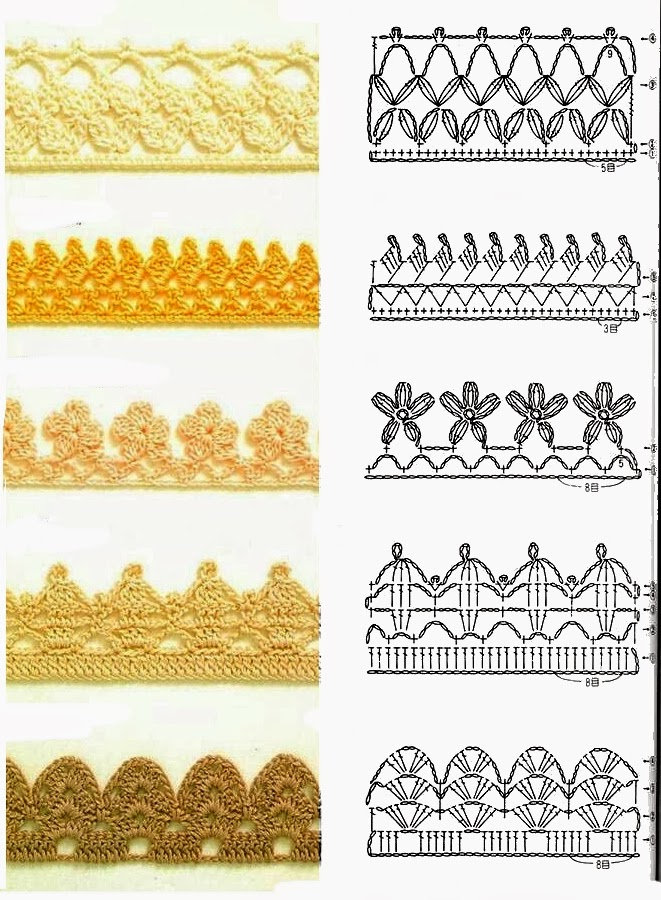 Uncinetto e crochet raccolta di bordi all 39 uncinetto for Schemi uncinetto bordi