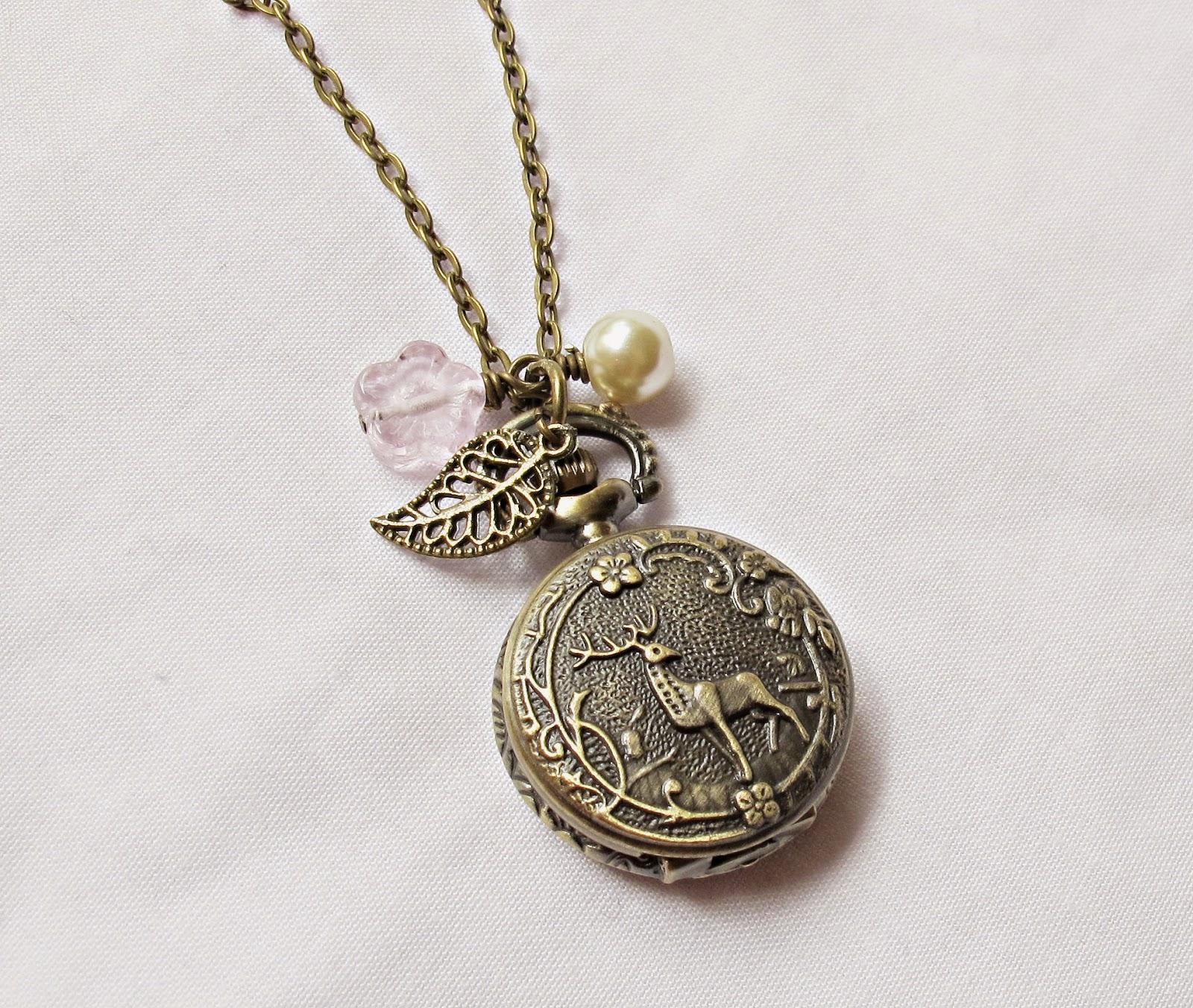 image to kill a mockingbird necklace watch atticus finch brass bronze leaf flower deer woodland two cheeky monkeys