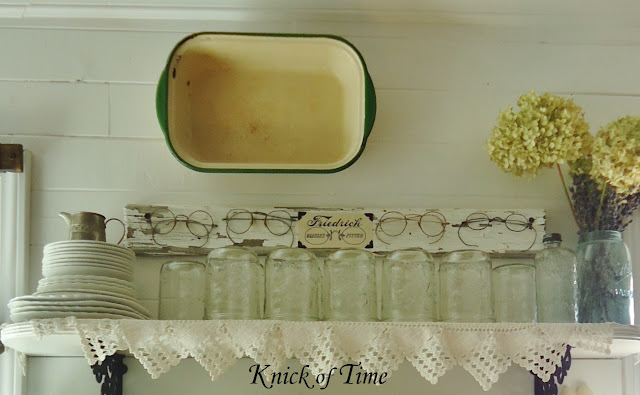 Farmhouse Kitchen Open Shelves Antique Eyeglasses Spectacles Ball Jars via KnickofTimeInteriors.blogspot.com