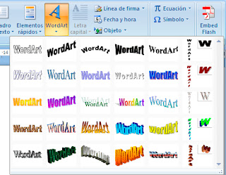 Insertar WordArt en Word 2007