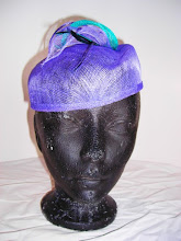 Periwinkle creased sinamay beret