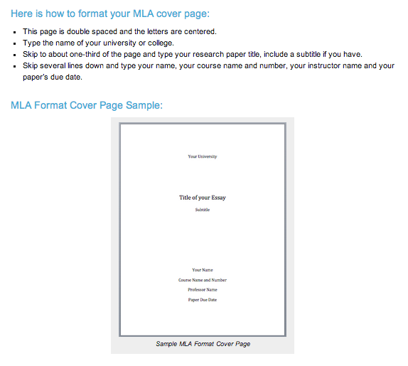 cover pages for research papers mla