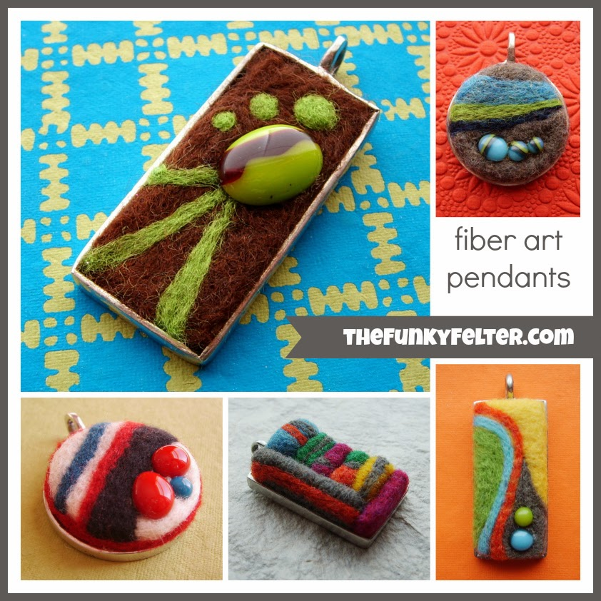needle felted fiber art pendants collage example by the funky felter
