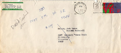 Envelope of Frank Kameny letter to Jack Baker 1973