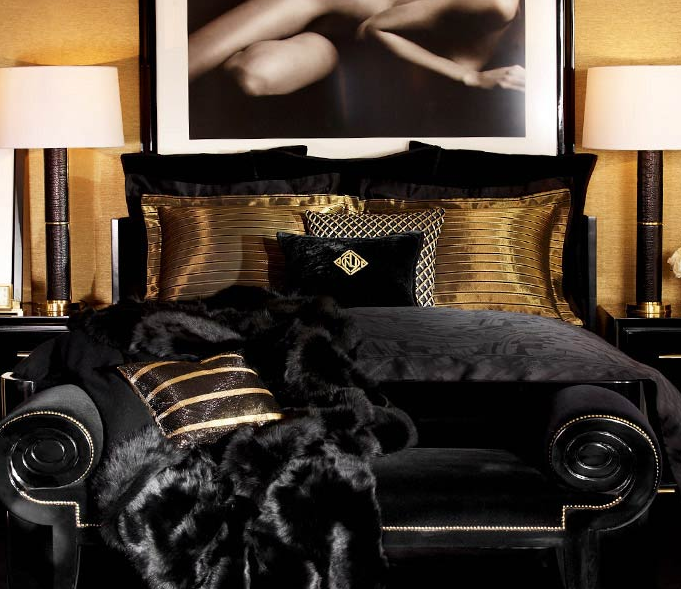 Style code interior design inspiration the new ralph for Black and gold bedroom ideas