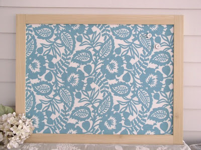 fabric magnet board, blue and white pattern, framed