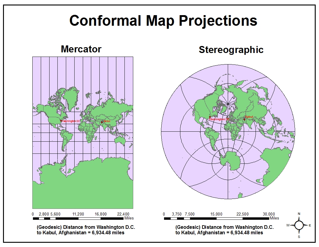 conformal map projections also known as orthomorphic preserve local angles and direction these types of maps are best when observing true shapes within