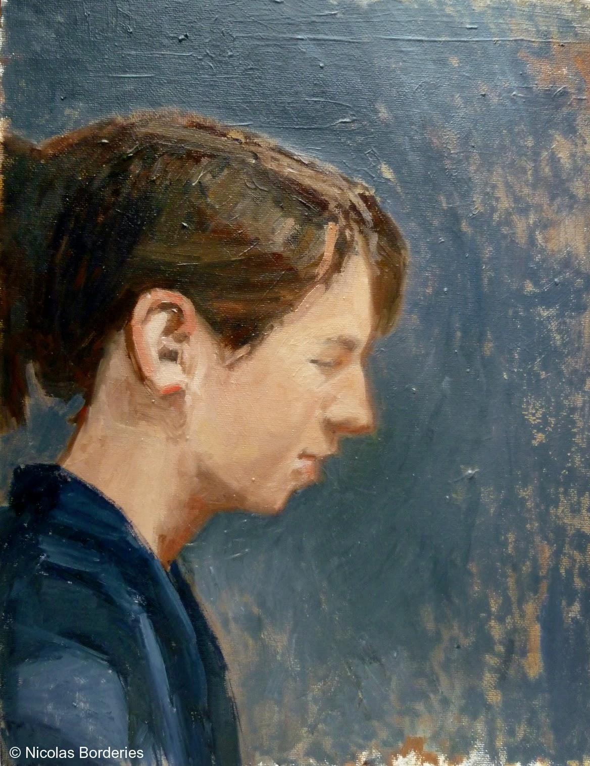 Nicolas Borderies Peintures Quelques portraits récents réalisés d'après modèle vivant ¤ Some recent portraits from life