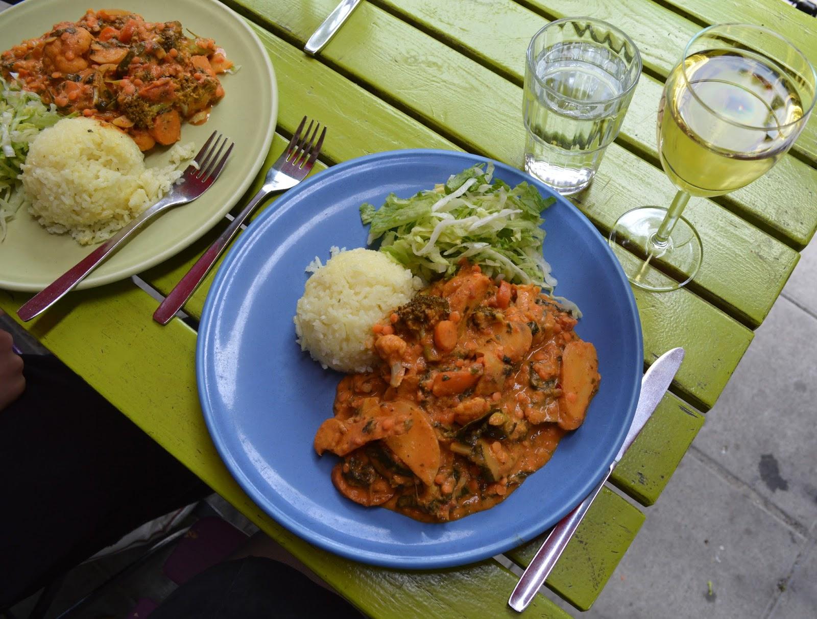 Vegetarian curry at vegetarian restaurant Chutney in Stockholm