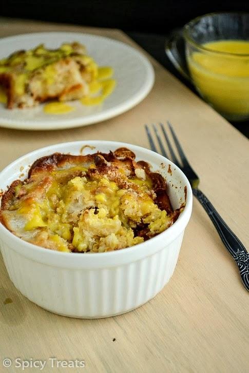 Eggless Bread Pudding With Eggless Vanilla Custard Sauce Left Over Challah Bread Recipe