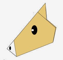 Bước10: Vẽ mắt, vẽ mũi để hoàn thành cách xếp hình mặt con ngựa giấy.