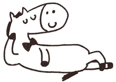馬のイラスト「寝ている馬」 線画