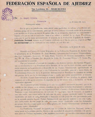 Carta sobre el Torneo Internacional de Ajedrez de Barcelona 1929 (1)