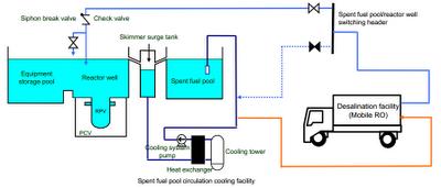 Sistema mobile per la rimozione dei sali collegato alla piscina del combustibile e a quella del reattore nell'unità 4