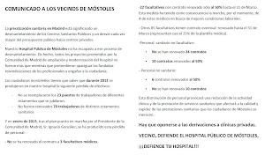 VECINO, DEFIENDE EL HOSPITAL PUBLICO DE MOSTOLES
