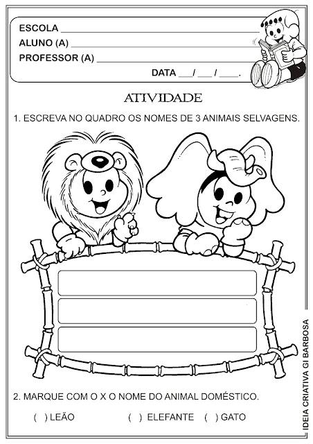 Atividade Animais Selvagens e Animais Domésticos
