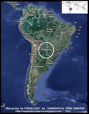 Ubicación de PARAGUAY en Sudamérica, Vista Satelital