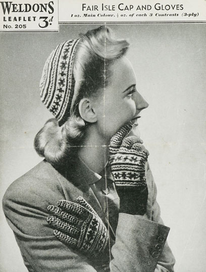 1940's Knitting - Fair Isle Cap and Gloves