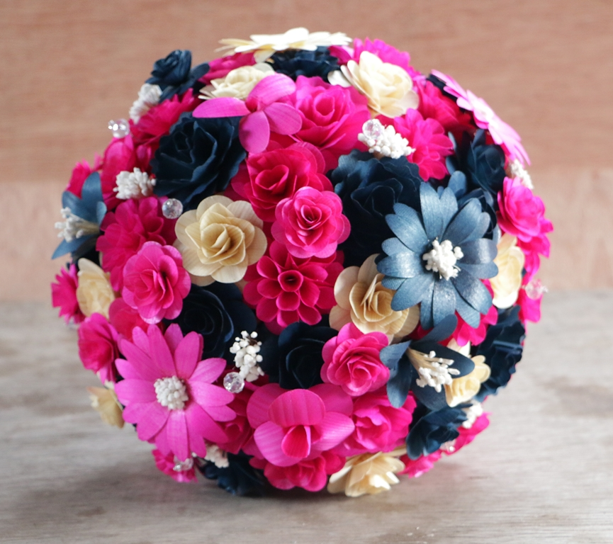 Navy blue and hot pink wedding bouquets made of wooden for Pink and blue flower arrangements