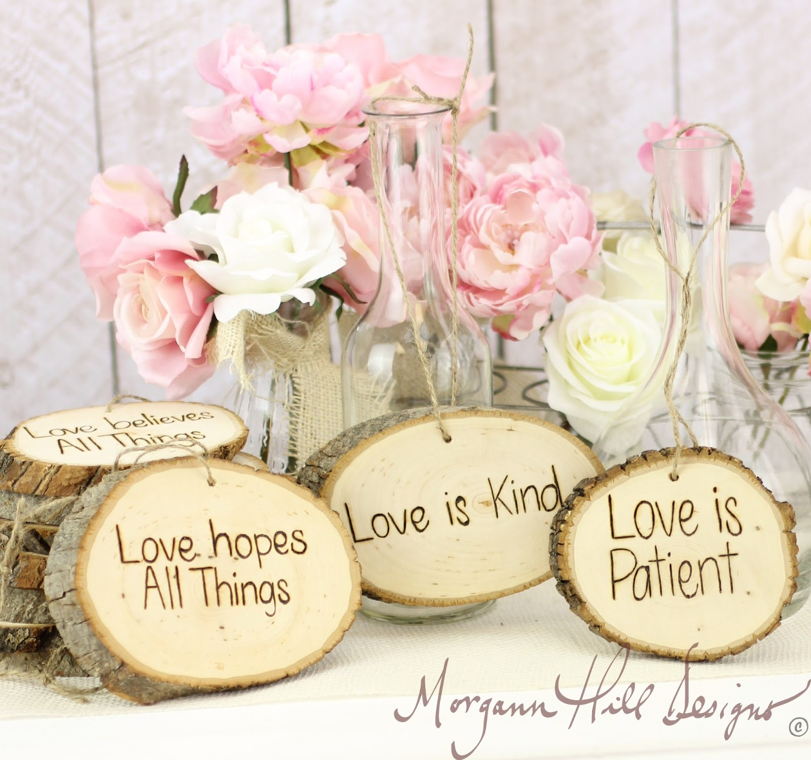 Love Is Patient Love Is Kind Quote Morgann Hill Designs Rustic Tree Slice Wedding Signs Love Is
