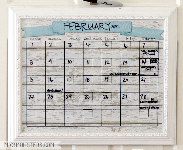 Dry Erase Calendar Printable at my3monsters.com