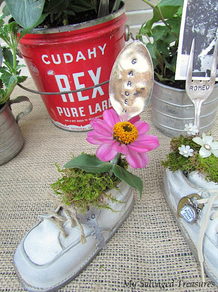 stamped silverware tutorial baby shoe plant holders