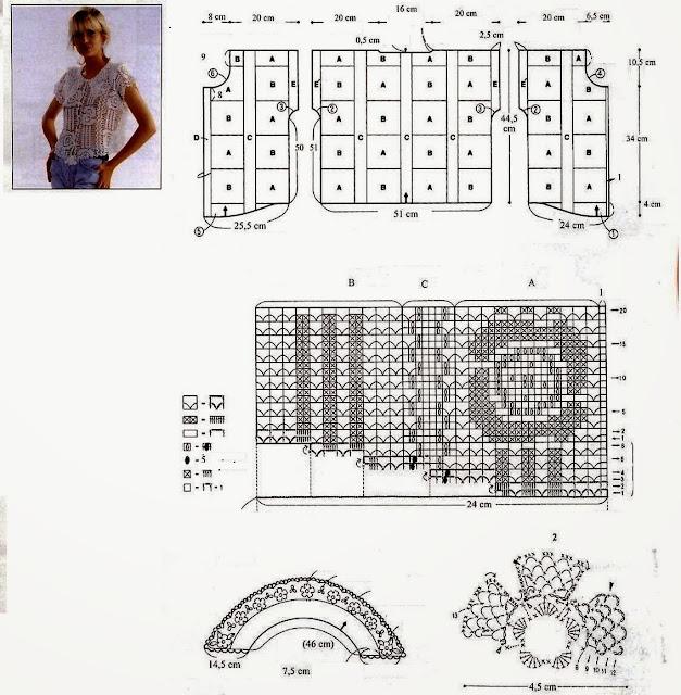 szablon i wzor bluzki szydelkiem