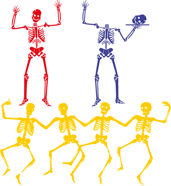 Alegres esqueletos danzarines Vector