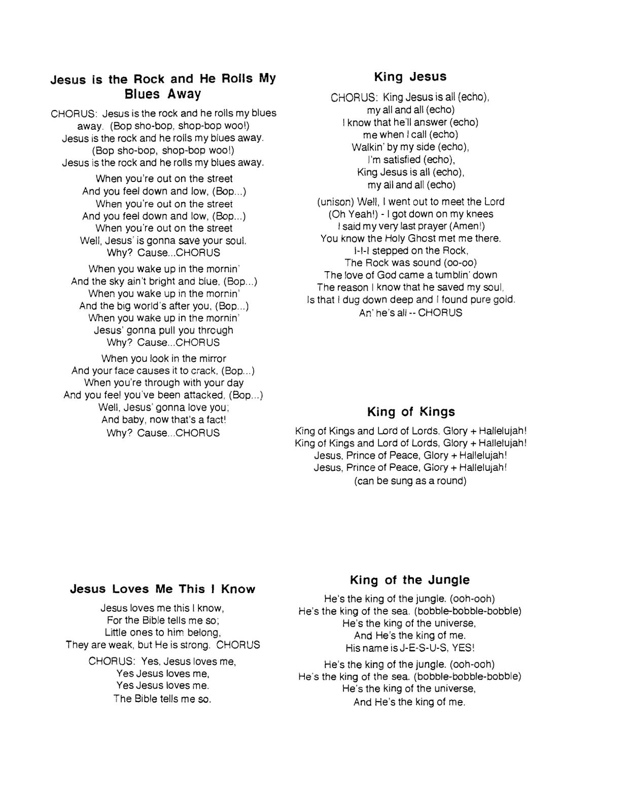 Lyrics to campfire songs