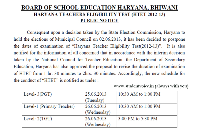 HTET New Time Table /Schedule Announced - www.htet.nic.in
