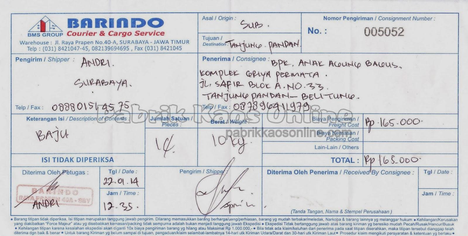nota kirim belitung via Barindo
