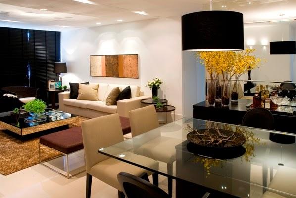 Sala De Jantar Imagens ~ Salas com cores claras e com pontos de cor preto Notem que o recurso