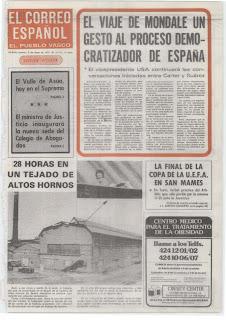 Portada del diario El Correo tras el partido de ida